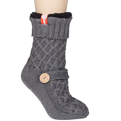 Womens Sweater Design Super Thick Comfy Non-Skid Slipper Socks (Charcoal -