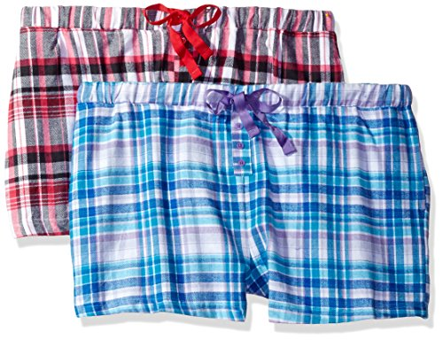 Bottoms Out Women's Flannel Sleep Short (Pack of 2), Set 2, (Flannel Boxer Short Pajamas)