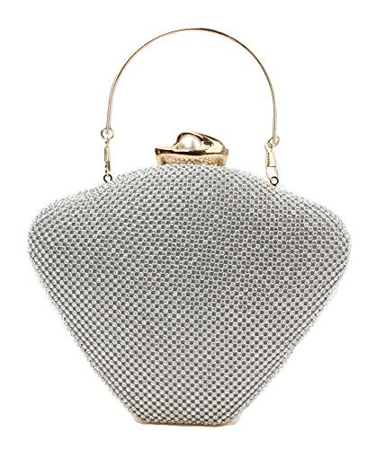 Luxury Crystal Clutches Rhinestone Evenning Bags For Women Heart Shape Shining Purses Silver