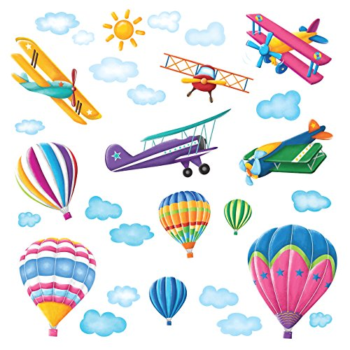 Decowall DW-1301 6 Hot Air Balloons and 5 Biplanes in The Sky Kids Wall Stickers Wall Decals Peel and Stick Removable Wall Stickers for Kids Nursery Bedroom Living Room