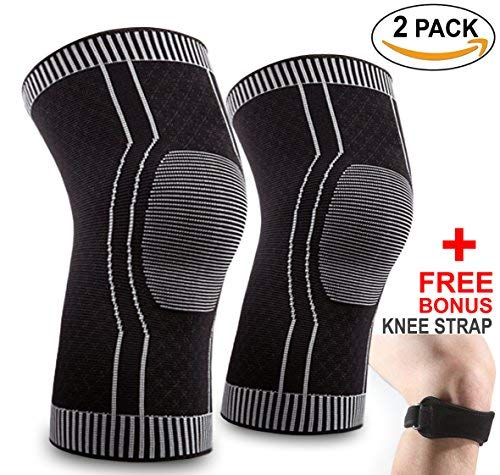 492489687c LINLAM Knee Brace for Men Women, Knee Support Copper Knee Braces Sleeves  Compression Sleeve Strap