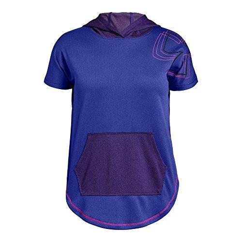 Under Armour Girls Tech Short sleeve Hoody, Constellation Purple (530)/Black, Youth ()