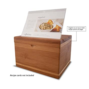 amazon com everything bamboo recipe card box featuring easy read