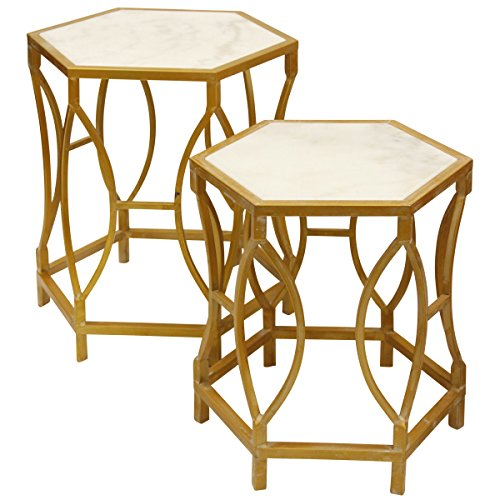 Collective Design 720354122905 Transitional Hexagonal White Carrara Marble Antique Gold Painted-Set of 2 Nesting - Tables Antique Marble