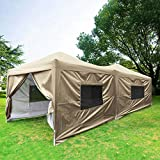 Quictent Privacy 10x20 ft EZ Pop Up Canopy Tent Party Tent Outdoor Event Gazebo with Sidewalls 100% Waterproof-6 Colors (Beige)