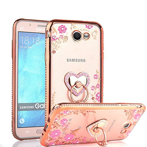 (CaseHaven Galaxy J7 Prime 2017 Case, Glitter Crystal Heart Floral Series - Bling Rhinestone Clear TPU Case with Ring Stand for Samsung Galaxy J7 Perx/Galaxy J7 Sky Pro/Galaxy J7 V - Rose Gold)