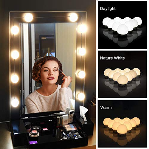 Vanity Mirror Lights Kit,Upgraded 3 Color Modes LED Lights for Mirror Makeup -