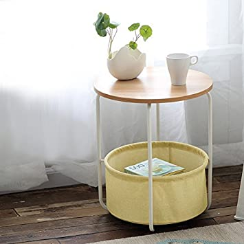 geboor two tier end tables side table large capacity corner for bedside organization with storage basket - Corner Side Tables