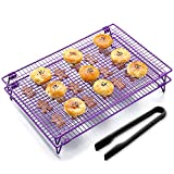 KALREDE Cooling Rack Folding Baking Rack Pack of 2 - Wire Non-Stick Cookie Cooling Racks Bonus a Plastic Food Tong for Cookie,Bread,Cake or Baked Foods - Baking Accessories ( 17 X 11 Inches,Purple)