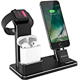 YoFeW Apple Watch Stand Aluminum 4 in 1 Apple Watch Charger Dock Accessories for AirPods Charging Docks Stand for Apple Watch Series 3/ 2/ 1/ AirPods/ iPhone 8/ 8 Plus/ 7/ 7 Plus /6s iPad Black