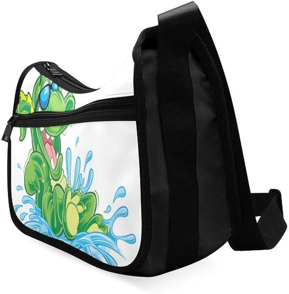 Cruel Cartoon Crocodile Messenger Bag Crossbody Bag Large Durable Shoulder School Or Business Bag Oxford Fabric For Mens Womens