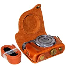 Clanmou G9X Protective Leather Camera Case Bag for Canon PowerShot G9 X DSLR Camera Accessory Brown