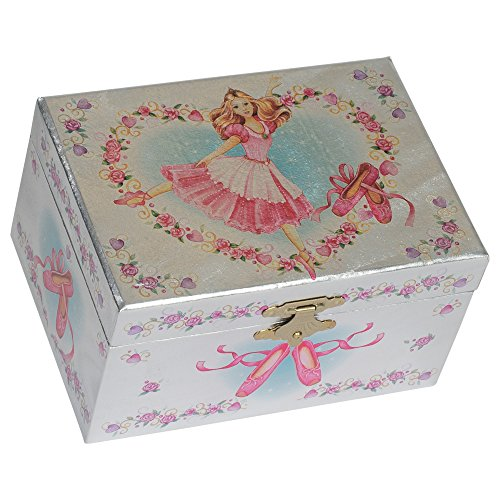 (Splendid Music Box Co. Metallic Hot Pink Ballerina Heart Wreath Papier Musical Jewelry Box Plays Swan Lake)