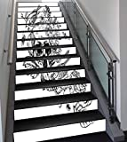 Stair Stickers Wall Stickers,13 PCS Self-adhesive,Black and White,Dead Skull Flowers Birds and Feathers Gothic Mexican Calavera Design,Red Black White,Stair Riser Decal for Living Room, Hall, Kids Roo