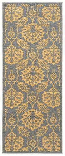 26-inch X 6-feet Non-Skid Rubber Backed Runner Rug | Grey - Gold Floral Modern Carpet Runner 2X6]()