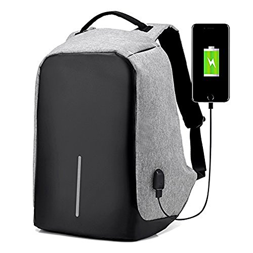 Anti-theft Business Laptop Backpack Lightweight Water-resistant Knapsack with USB Charging Port Fits to 15.6 Inch Computer (Gray)