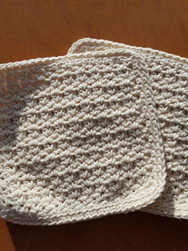 Handmade crochet washcloths, dishcloths, rags, wipes or pot holders 100% cotton set of 2 (off white) 7.5x 7.5 inches
