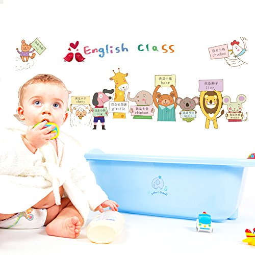 ENCOCO Children's Early Education Stickers Animal Chinese English Wall Stickers Kindergarten Classroom Decoration Removable Stickers Wall Decals,2Pcs]()
