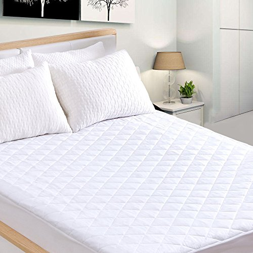 IB SOUND Queen Waterproof Quilted Cover Dust Mite Proof & Deep Pocket Fitted Skirt 18 Inch Breathable & Machine Washable Mattress Pad Protector, White