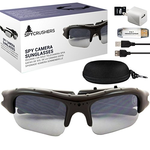 SpyCrushers Spy Camera Sunglasses - Best Wearable Spy Cam Mini DVR - Includes Camera Glasses Case, Cleaning Cloth, Micro SD Card Adapter, Micro 2.0 USB Cable, USB Charger & 4-N-1 - Sunglass Websites