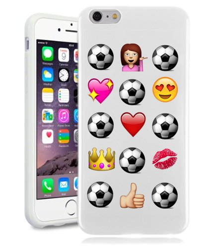 Soccer iPhone 6 Case By NickyPrints(TM) - Soccer Novelty Emoji Funny Princess Love Soccer Football Case For Teens Girls UNIQUE Designer Gloss Candy TPU Flexible Slim Case Cover Skin for iPhone 6