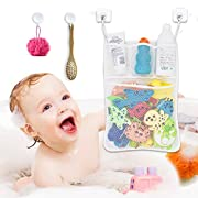 Bath Toy Organizer with Hooks - 13X18 Large Bath Toys Holder - Mesh Bath Toy Storage for Baby, Kids - Bath Organizer with Multi Pockets, Strong Suction Hooks, 3M Stickers - Mold Free, Quick Dry