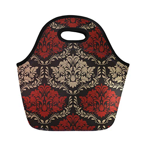 Semtomn Lunch Tote Bag Damask of Red and Beige Colors the Baroque Pattern Reusable Neoprene Insulated Thermal Outdoor Picnic Lunchbox for Men Women