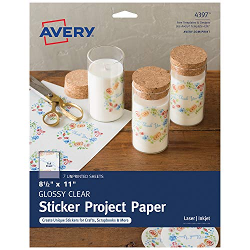 Adhesive Backed Laser Film - Avery Printable Sticker Paper, Glossy Clear, 8.5 x 11 Inches, Laser and Inkjet Printers, 7 Sheets (4397)