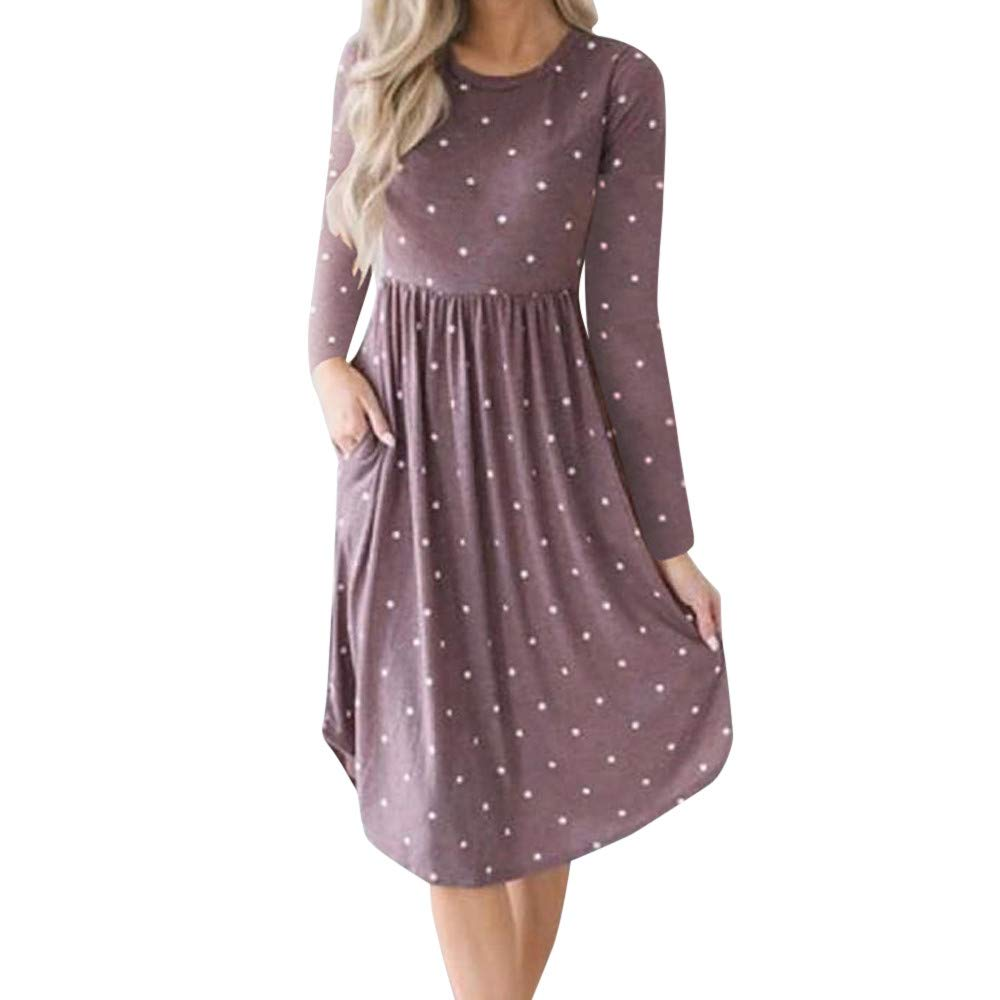 AMSKY Mini Dresses Flowy Women,Women Casual Dot Printing Round Neck Dress Long Sleeve Evening Party Dress PP/S, Suiting & Blazers > Blazers,Purple,S