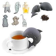 Lemonda 7 Pcs Cute Food-grade Silicone Tea Steeper Ball Strainer Tea Filter Infuser Include Man, Monkey, Sea Lions, Elephant, Shark, Dog, Sloth Shape