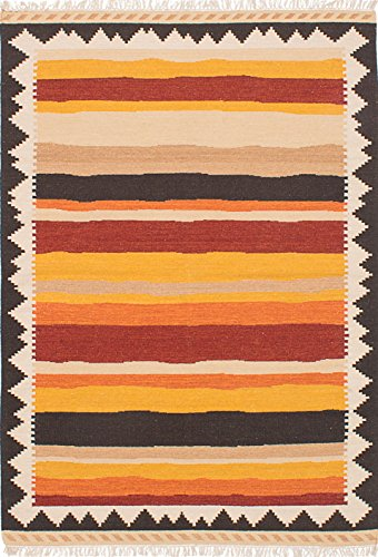 Ecarpetgallery Hand-Woven Ankara Kilim Stripe Patterns 5' x 7' Red 100% Wool Area Rug from eCarpet Gallery