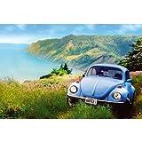 (24x36) California Beetle (Blue VW Bug) Art Poster Print