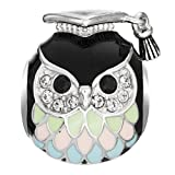 Rhodium On 925 Sterling Silver Owl Teacher European Style Bead Charm Made with Swarovski Crystals