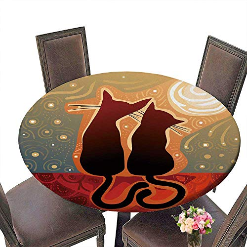 PINAFORE Modern Simple Round Tablecloth Cats in Love on a roof in The Moonlight Decoration Washable 50
