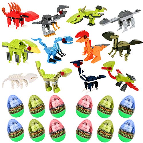 PROLOSO Easter Eggs Building Blocks Dinosaur Toys Bricks Jurassic World T-rex Models Pack of 12 -
