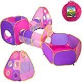 Playz 4pc Children's Playhouse Popup Tents Tunnels and Basketball Hoop for Girls Boys Babies Kids and Toddlers with Zipper Storage Case for Indoor & Outdoor Use (Yellow Pink Purple)