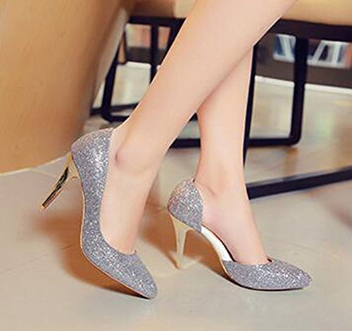 CHFSO Womens Sexy Stiletto D-orsay Sequins Solid Pointed Toe Slip On Low Top High Heel Wedding Pumps Silver oytsxBa