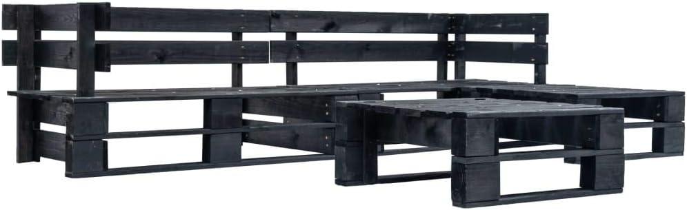 vidaXL Juego de Muebles de Palés para Jardín 4 Piezas Madera Exterior Terraza Patio Balcones Decoración Mueble Mobiliario Hogar Casa Bricolaje Negro: Amazon.es: Hogar