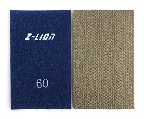 Z-Lion Diamond Abrasive Paper Sheets 60 Grit Diamond Sandpaper Nylon Back for Grinding Stone Glass Ceramic(1 Pcs)