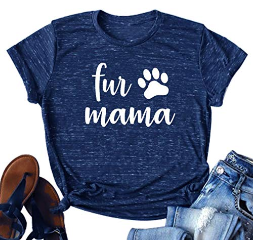 DUDUVIE Dog Mom Shirt Women Funny Dog Mama Cute Tee Letter Printed T Shirt Tops Blouse(Navy Blue,Large)