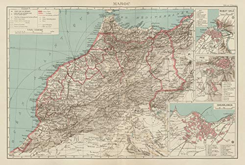 French Morocco. Maroc Protectorat français. Rabat Fez Casablanca Plans - 1929 - Old map - Antique map - Vintage map - Printed maps of Morocco