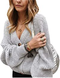 Women's V Neckline Button Down Knitwear Lantern Sleeve Basic Knit Cardigan Sweater Tops