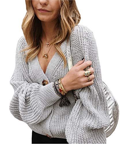 Asskdan Women's V Neckline Button Down Knitwear Lantern Sleeve Basic Knit Cardigan Sweater Tops (Grey, Small)