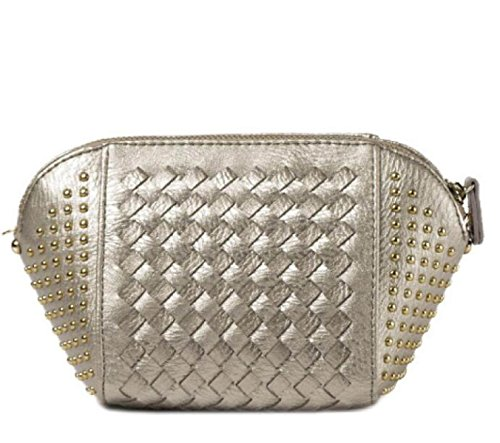 Otoño E Invierno Nueva Moda Simple Remaches Tejiendo Hombro Bolso Diagonal Paquete Shells Chica SilverGray