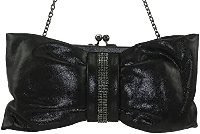 Franchi Bella Women's Evening Leather Clutch Metallic Black (Metallic Black)