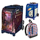 Zuca Galaxy Insert Bag in Navy Blue Frame (Full-Sized Sport) with Mini Blastoff Bag for Kids and Explorer Backpack