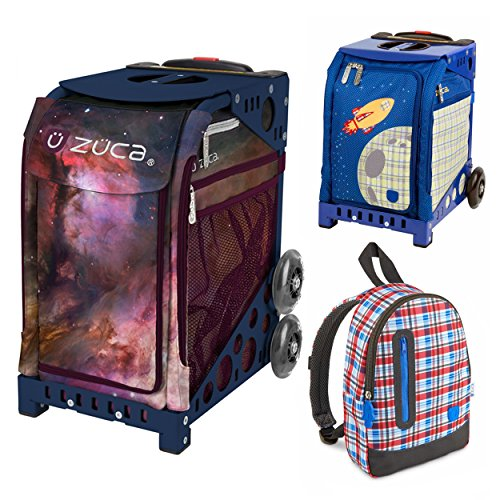 Zuca Galaxy Insert Bag in Navy Blue Frame (Full-Sized Sport) with Mini Blastoff Bag for Kids and Explorer Backpack by ZUCA