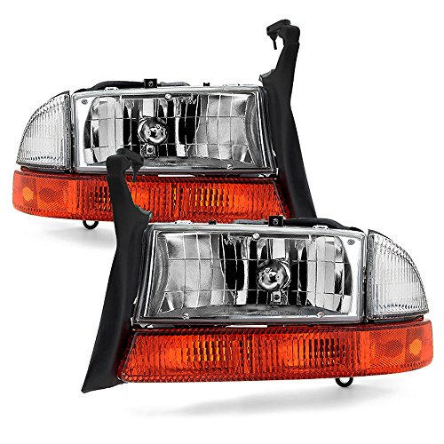 ACANII - For 1997-2004 Dakota Durango Headlights Headlamps+Signal Marker Lamps Driver + Passenger Side ()