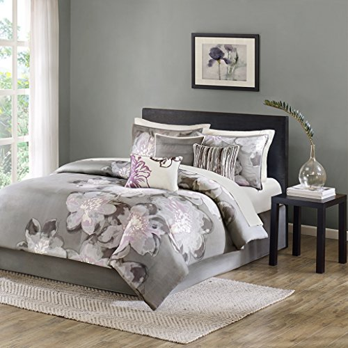 Madison Park Serena King Size Bed Comforter Set Bed in A Bag - Grey, Floral – 7 Pieces Bedding Sets – Sateen Cotton Bedroom Comforters