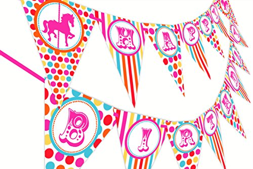 Carousel Carnival Birthday Banner - Multi Color -